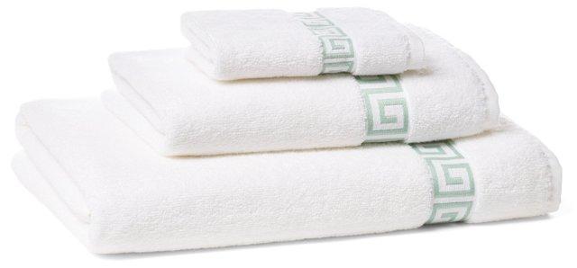 3-Pc Greek Key Towel Set, White/Mint