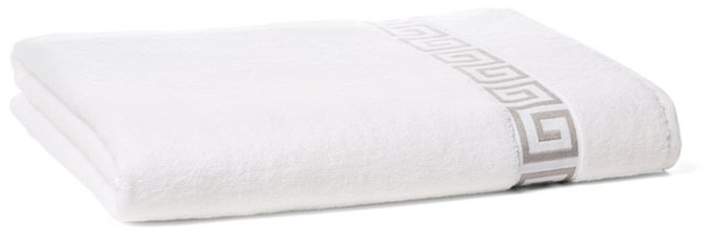 Greek Key Bath Sheet, White/Gray