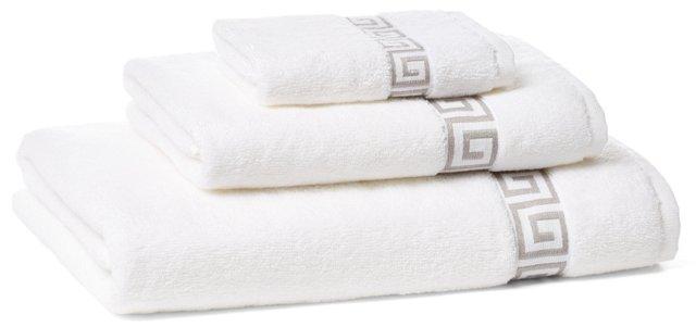 3-Pc Greek Key Towel Set, White/Gray