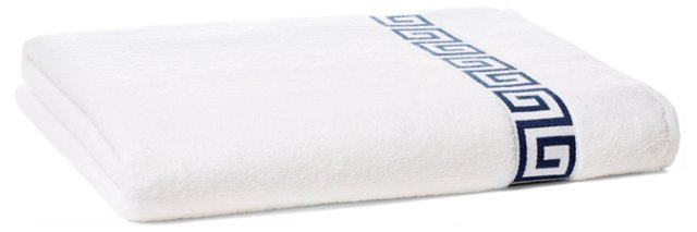 Greek Key Bath Sheet, White/Navy
