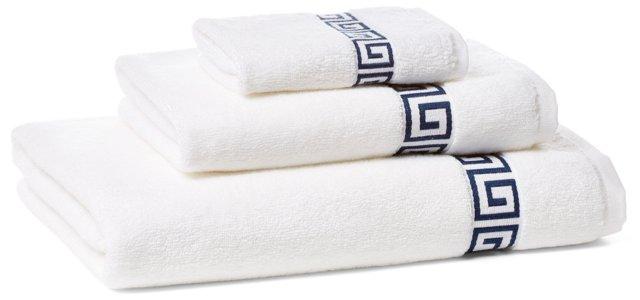 3-Pc Greek Key Towel Set, White/Navy