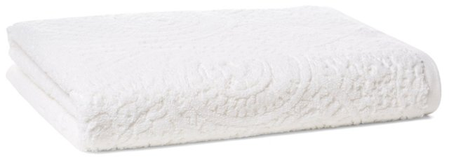 Scroll Jacquard Bath Sheet, White