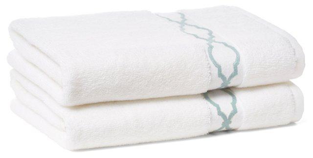 S/2 Trellis Hand Towels, Aegean