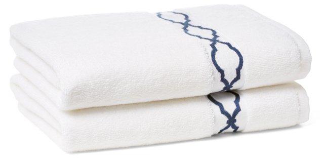 Set of 2 Trellis Hand Towels, Navy