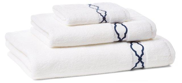 Trellis Towel Set, Navy