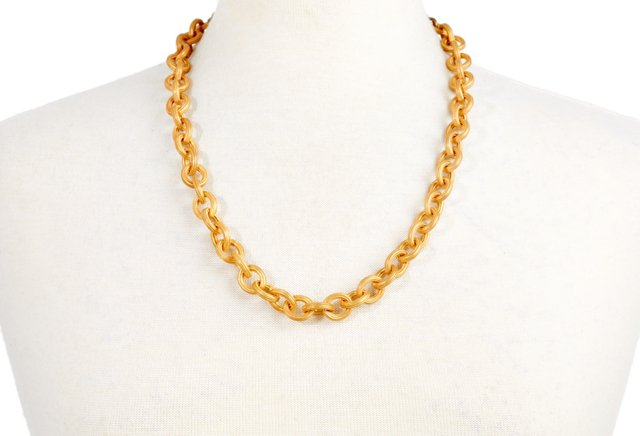 Chunky Link Chain & Leather Necklace