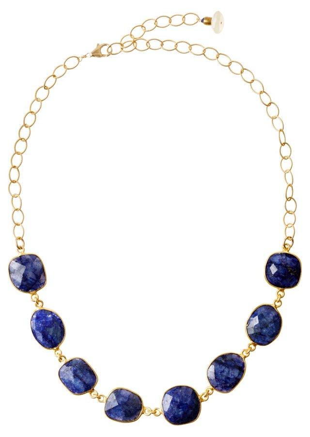 Deep Blue Sapphire Cushion Necklace