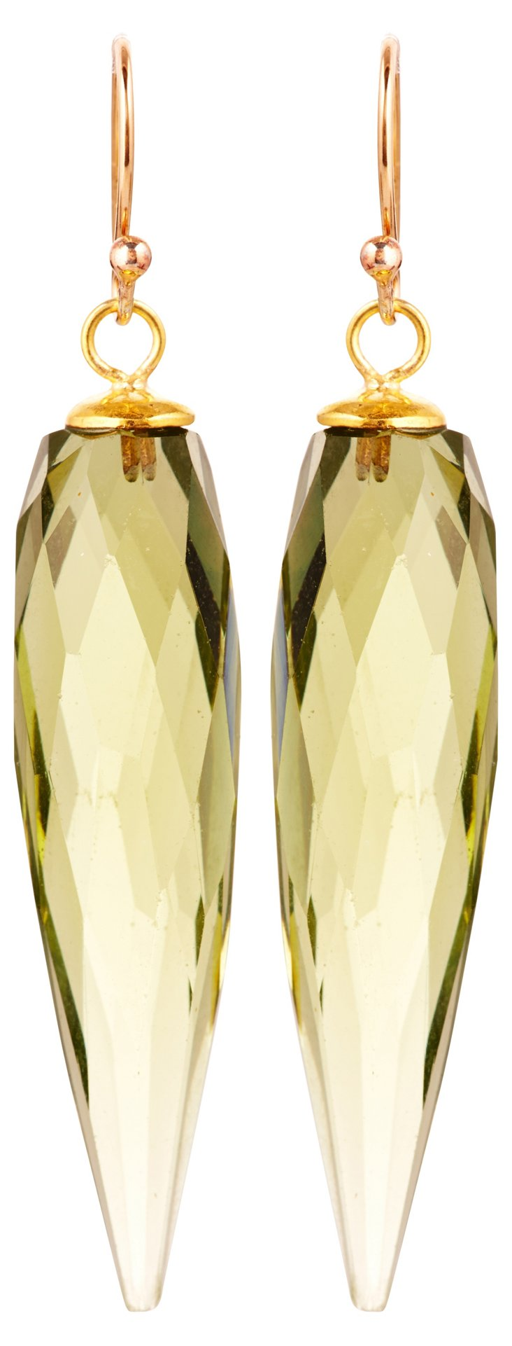 Olive Quartz Prism Earrings
