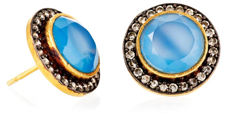 Chalcedony Perfect Round Studs, Blue