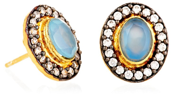 Chalcedony Perfect Oval Studs, Blue