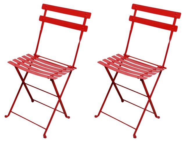 Red Amsterdam Side Chairs, Pair