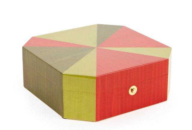 Lacquer Octagonal Jewelry Box, Multi