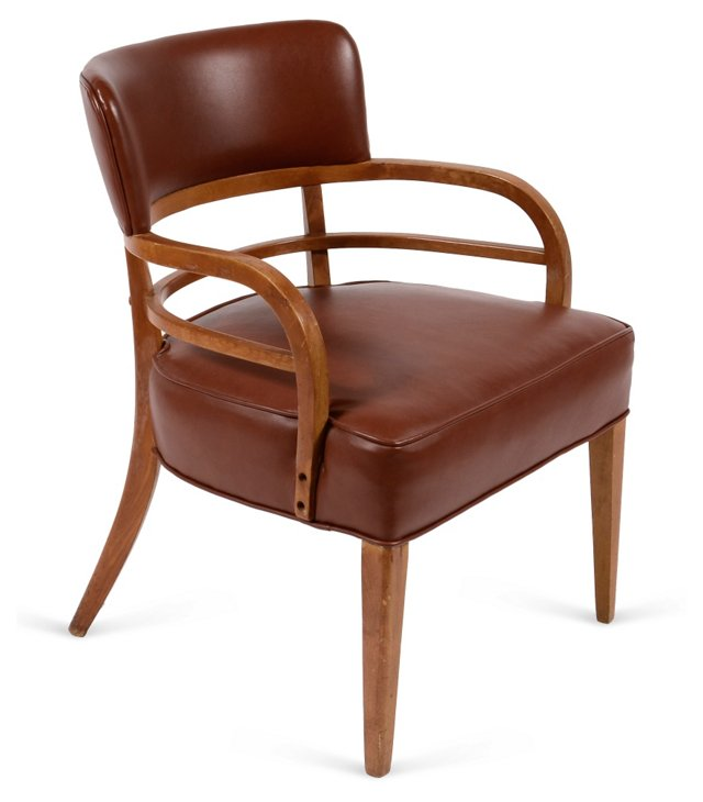 1950s Maple & Leather Chair