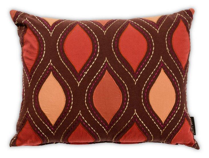 Chocolate Brown & Orange Ogee Pillow