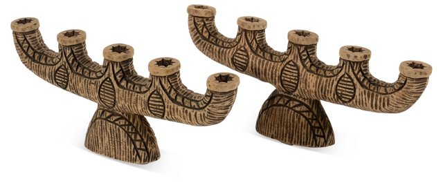 Carved Wood Candleholders, Pair