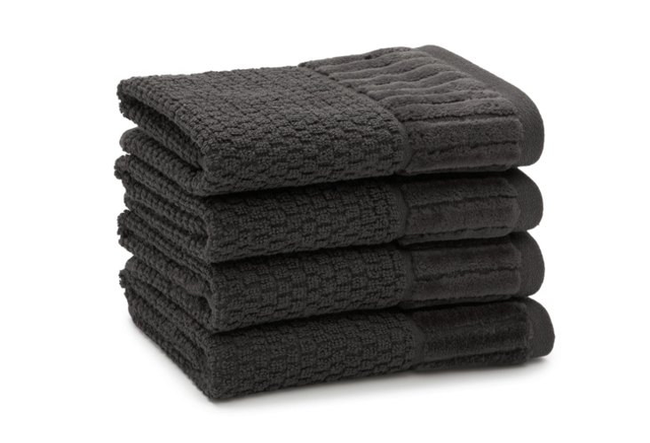 S/4 Amour Washcloths, Charcoal