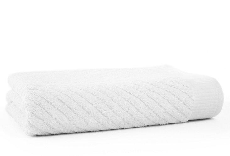 Diagonal Bath Towel, White