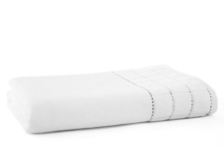 Heath Bath Towel, White/Black
