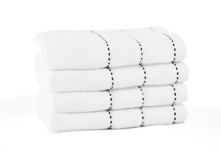 S/4 Heath Washcloths, White/Black