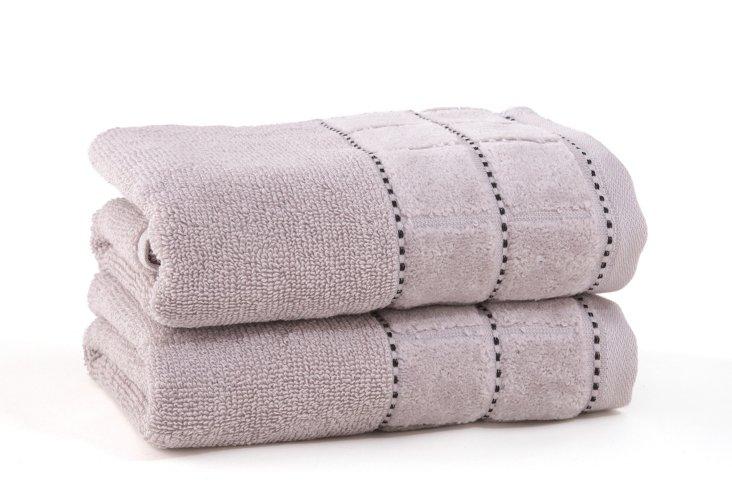 S/2 Heath Hand Towels, Silver/Black