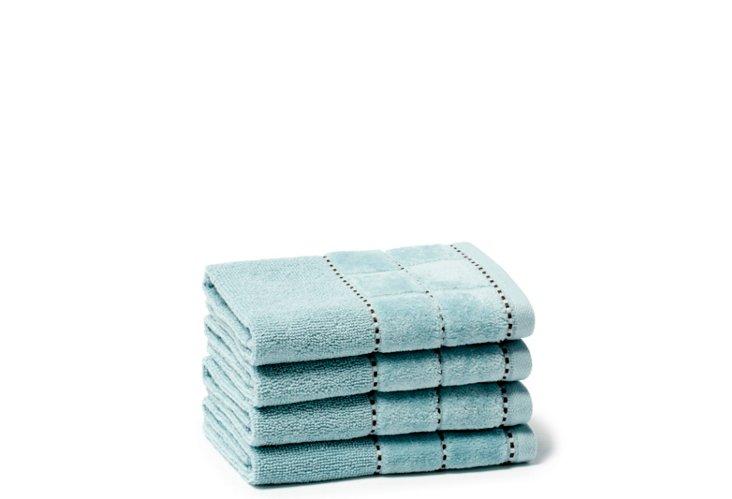 S/4 Heath Washcloths, Spa Blue