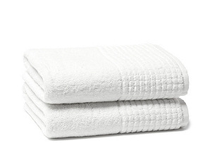 S/2 Ecstasy Bath Towels, White