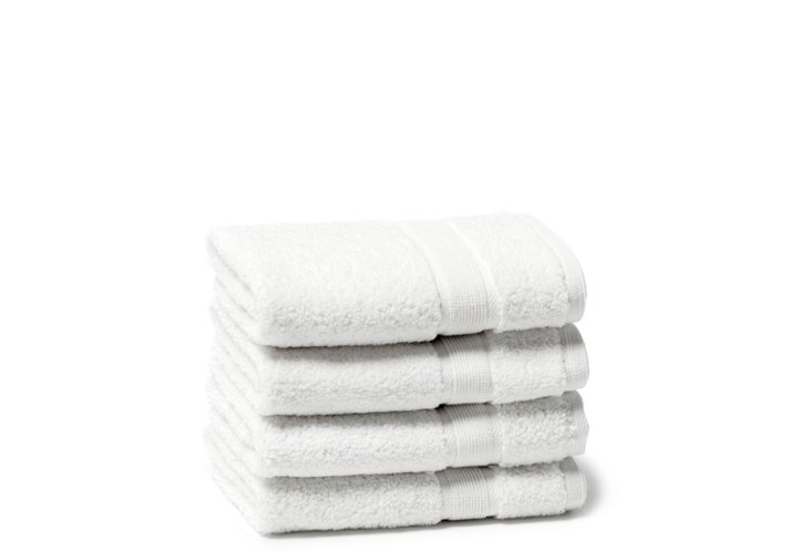 S/4 Signature Washcloths, White