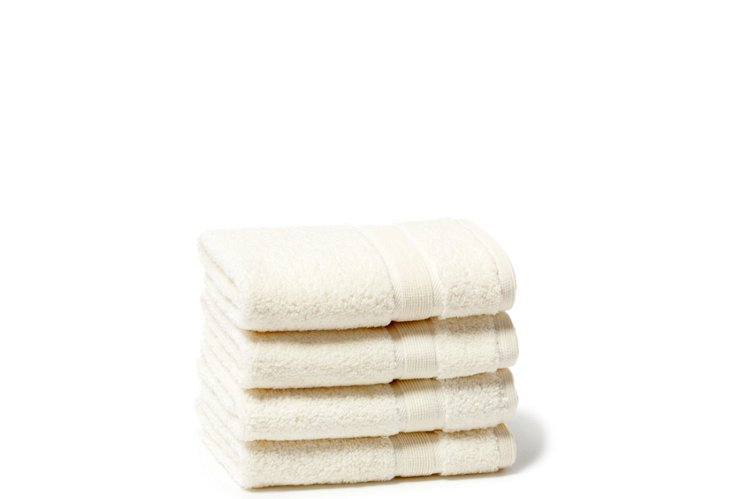 S/4 Signature Washcloths, Cream