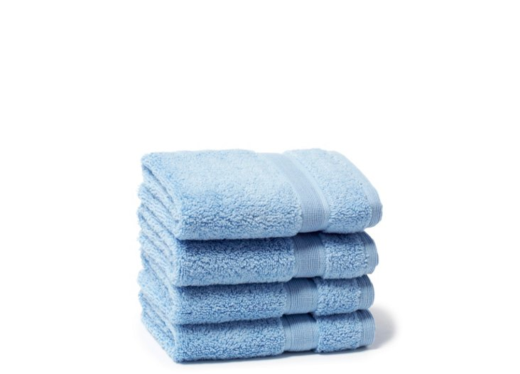S/4 Signature Washcloths, Blue