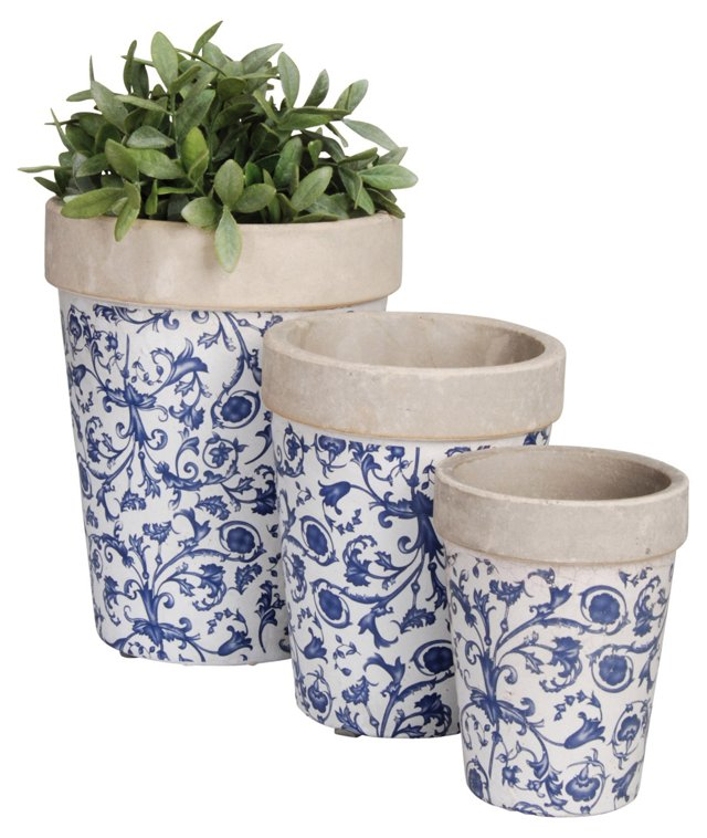 S/3 Flower Planters, Blue/White