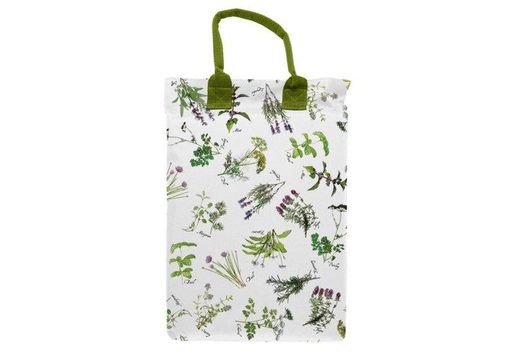 Herb-Print Gardening Kneeling Pad, White