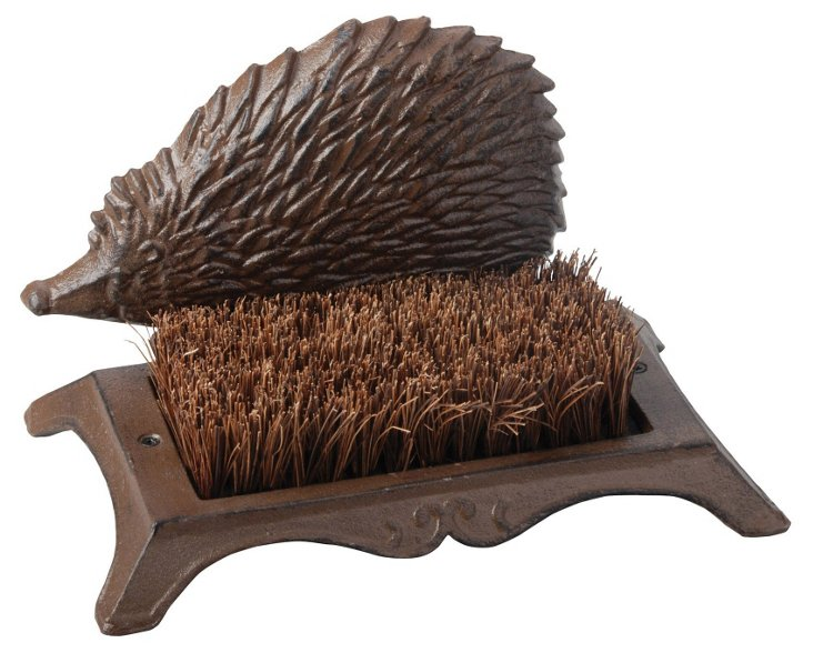 "10"" Hedgehog Boot Brush, Antiqued Brown"