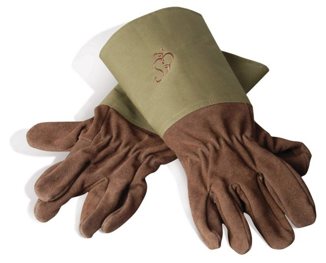 Pair of Gardening Gloves, Brown/Olive