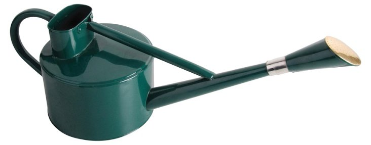 "11"" Long-Spouted Watering Can, Green"