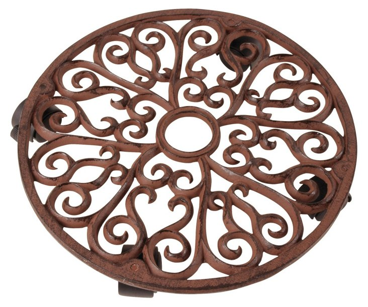 "14"" Round Cast-Iron Plant Trolley, Brown"