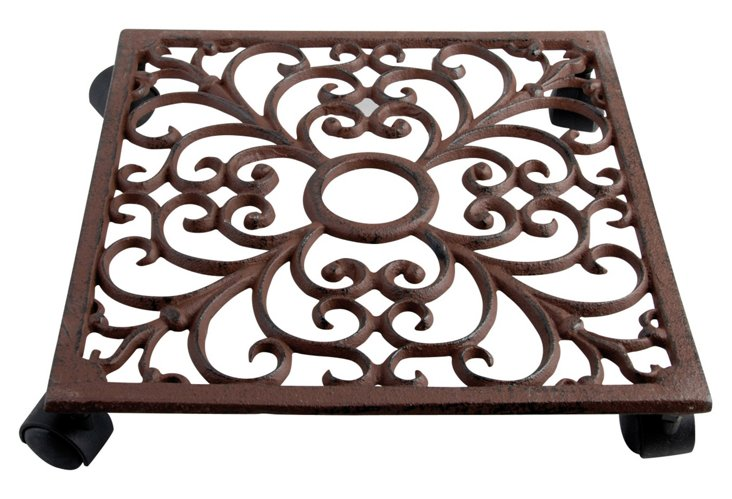 "11"" Cast-Iron Plant Trolley, Brown"
