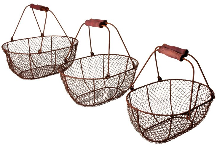 Asst. of 3 Woven Oval Wire Baskets