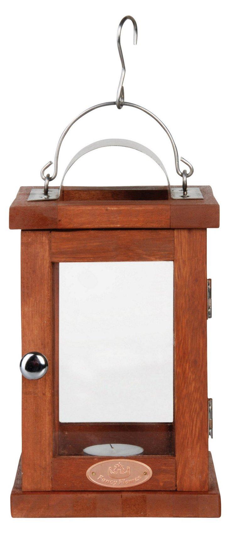 """9"""" Hardwood Lantern, Brown"""