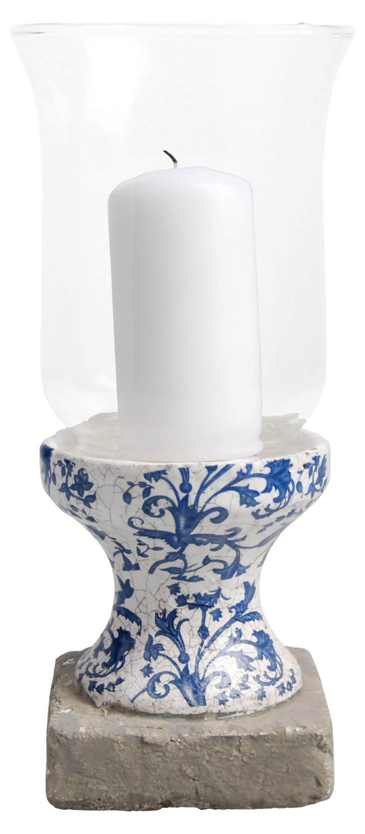 "10"" Hurricane Candle Stand, Blue/White"