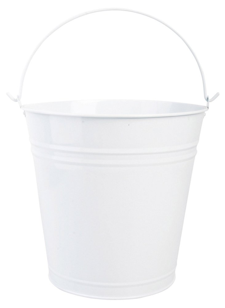 Russian Flower Pail, White