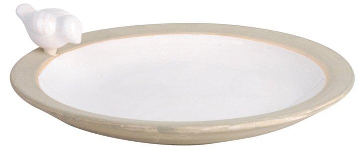 "13"" Ceramic Birdbath, White"