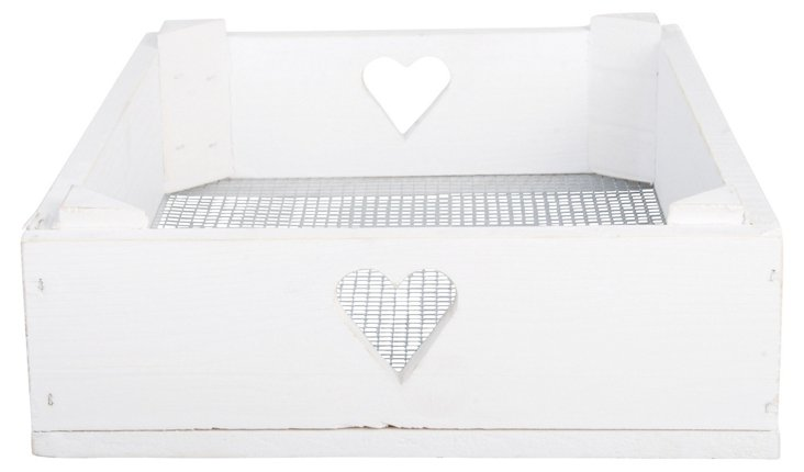 Wooden Sweetheart Tool Crate, Off-White