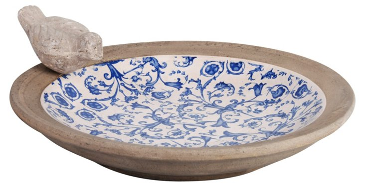 "14"" Ceramic Birdbath, Blue/White"