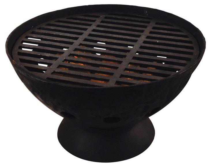"""22"""" Low Fire Pot, Black"""