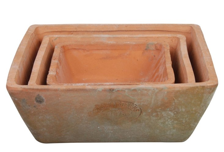 "S/3 6"" Aged Terracotta Pots"