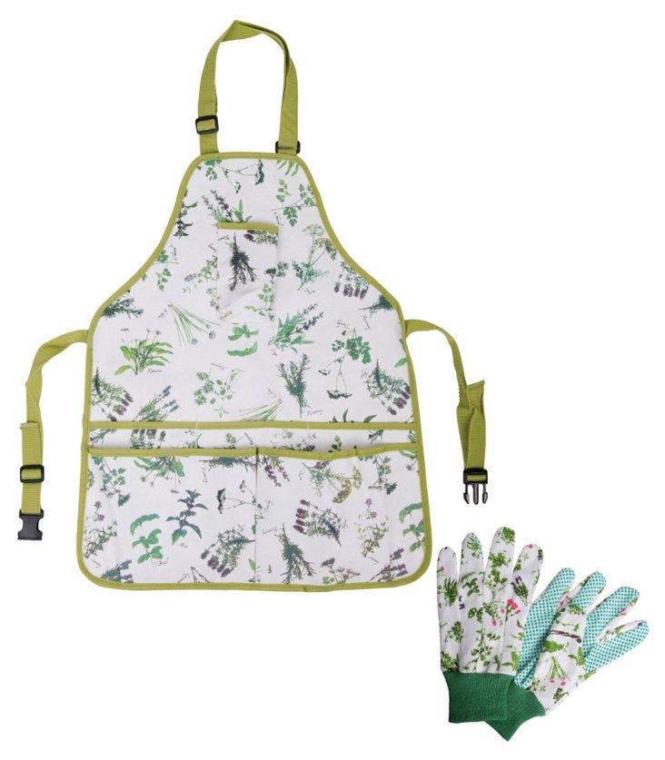 Herb-Print Gloves & Apron Set