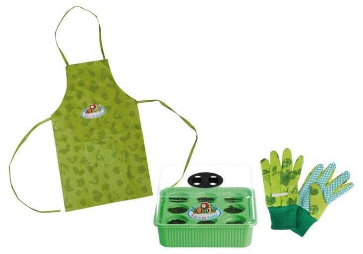 Kid's Seed Starter, Apron & Gloves Set