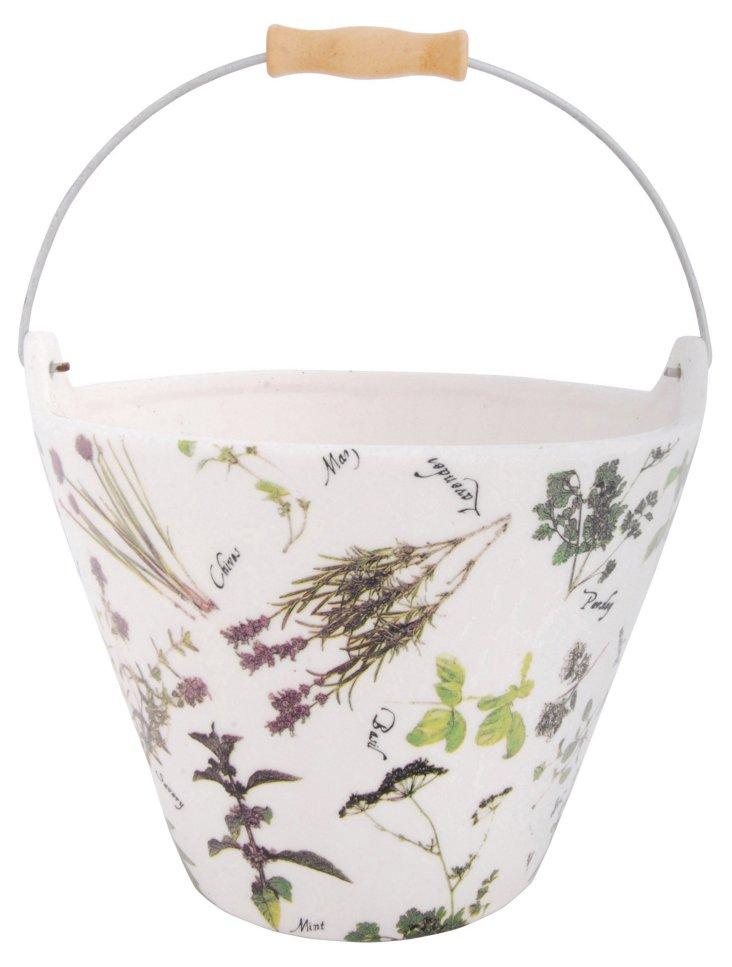 "8"" Herb-Print Ceramic Bucket"