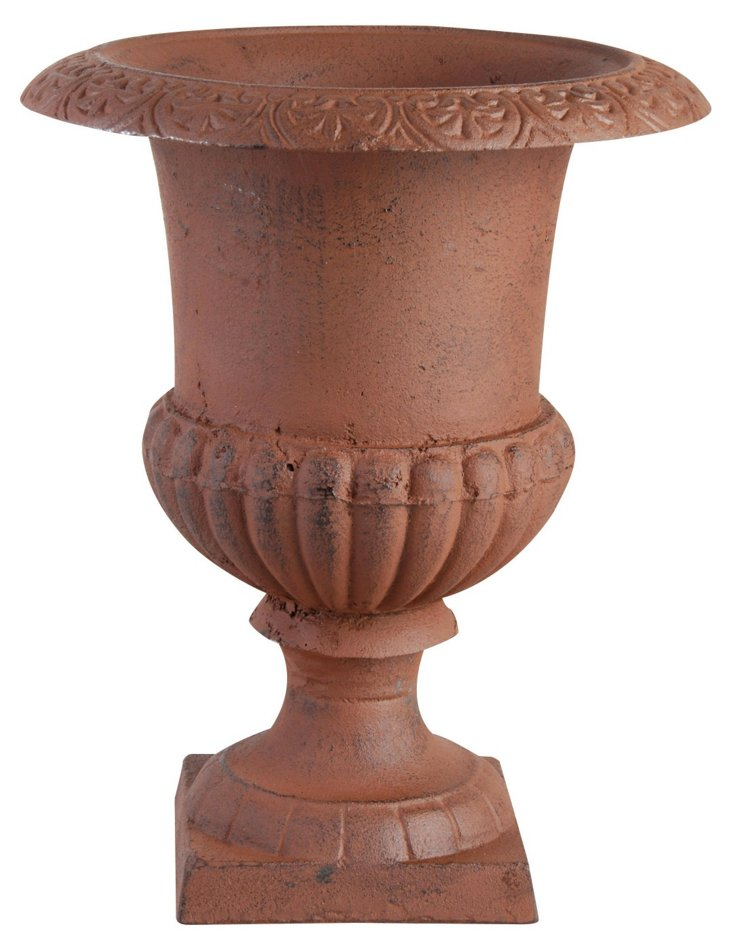 "12"" Cast Iron Renaissance Urn, Rust"