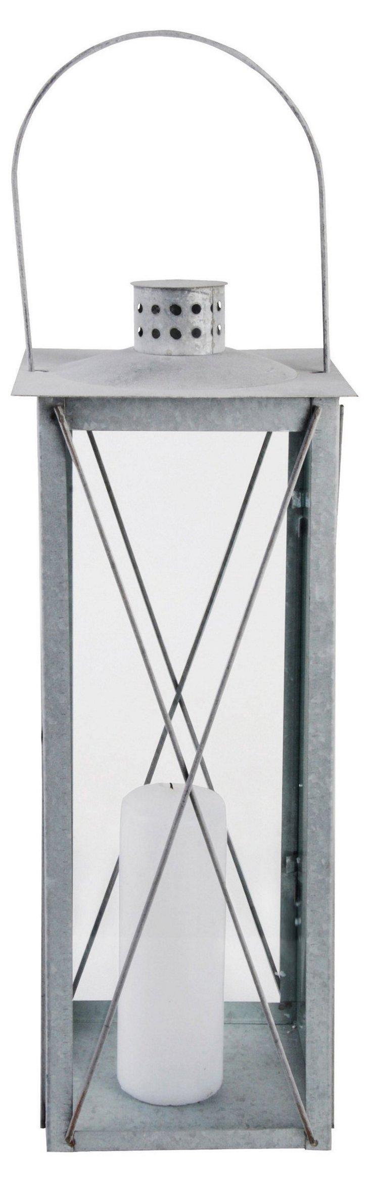 "26"" Timeless Old Zinc Lantern, Silver"
